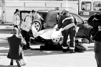 A mock accident on Sept. 26, 2012, warns students of dangers of impaired driving.