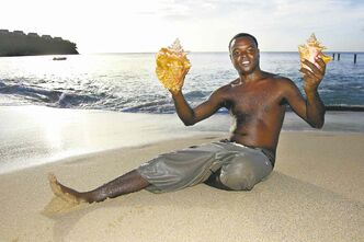 Roger Jan will sell you shells on the beach in front of Sandals Regency La Toc Resort in St. Lucia.