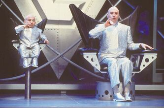 Mike Myers, right, and Verne J. Troyer perform in a scene from Austin Powers: The Spy Who Shagged Me.