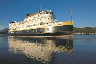 S.S. Legacy, Un-Cruise Adventure's coastal steamer replica, in the Columbia River.