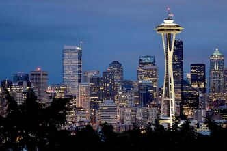 Seattle's Space Needle is centerpiece to the skyline view from Kerry Park on Queen Anne Hill. (Christopher Reynolds/Los Angeles Times/MCT)