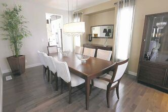 The dining room is spacious enough to seat up to 20.