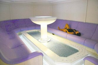 The relaxing Aqua Meditation room is the first of seven progressive saunas and steam rooms.