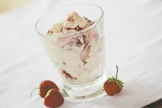 Vanilla-Strawberry Swirl no-churn ice cream