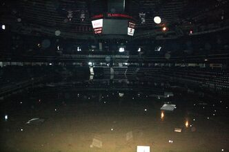 The inside of the Calgary Saddledome is shown in this undated handout photo provided by the NHL's Calgary Flames hockey club. The Calgary Flames say everything below the eighth row in the Saddledome is ruined by flooding. Team president Ken King says it's a total loss - dressing rooms, players' equipment, seats, boards and scoreboard electronics. THE CANADIAN PRESS/HO-Calgary Flames