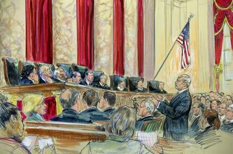 This artist rendering shows Attorney Theodore Olsen, right, representing the same-sex couples, addresses the Supreme Court in Washington, Tuesday, March 26, 2013, as the court heard arguments on California's ban on same-sex marriage. Justices, from left are, Sonia Sotomayor, Stephen Breyer, Clarence Thomas, Antonin Scalia, Chief Justice John Roberts, and Justices Anthony Kennedy, Ruth Bader Ginsburg, Samuel Alito and Elena Kagan. (AP Photo/Dana Verkouteren)
