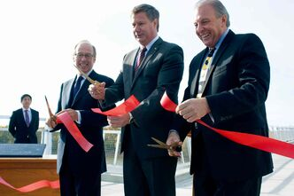 Mayor Sam Katz, Elmwood-Transcona MP Lawrence Toet and Local Government Minister Ron Lemieux cut the ribbon on the Disraeli Active Transportation Bridge on Oct. 3.