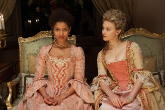 "This photo released by Fox Searchlight shows Gugu Mbatha-Raw, left, as Dido Elizabeth Belle and Sarah Gadon as Lady Elizabeth Murray, in a scene from the film, ""Belle."""