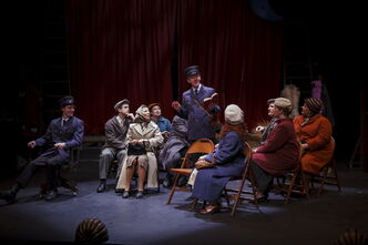 Arne MacPherson, centre, plays theatre-loving bus conductor Alfie Byrne.
