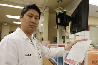 In this Monday, Jan. 14, 2013 photo, Dr. Steve Sun poses in the emergency room at St. Mary's Medical Center in San Francisco. A new government report shows the number of people seeking emergency treatment after consuming energy drinks has doubled nationwide over the last four years, the same period in which the supercharged industry has surged in popularity in convenience stores, bars and on college campuses. Sun said he had seen an increase in energy-drink related cases at the Catholic hospital where he works on the edge of San Francisco's Golden Gate Park. (AP Photo/Eric Risberg)