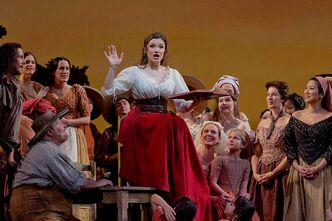 Garden City girl Andriana Chuchman (centre) made her Metropolitan Opera debut on Jan. 9, singing the role of Adina in Donizetti's L'Elisir d'Amore.