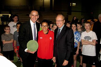 (Left to right) Minister of Children and Youth Opportunities Kevin Chief, Canadian women's national team player Desiree Scott and Mayor Sam Katz at the announcement of a $20.55-million expansion to the Garden City Community Centre.