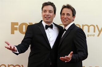 FILE This Sept. 18, 2011 file photo shows Jimmy Fallon, left, and Seth Meyers at the 63rd Primetime Emmy Awards in Los Angeles. Meyers is moving from his