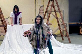 Kelci Stephenson (foreground) and Murray Farnell rehearse Dec. 12 for The Prairie Theatre Exchange's Portage & Munsch: 50 Below.