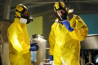 Jesse Pinkman, played by Aaron Paul, left, and Walter White, played by Bryan Cranston, cook up some meth in Breaking Bad, which ended on a high note in 2013.