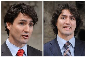 Two photos of Liberal leadership candidate Justin Trudeau in the House of Commons on Parliament Hill in Ottawa on March 7, 2013 (left) and March 12, 2012 (right). THE CANADIAN PRESS/Sean Kilpatrick