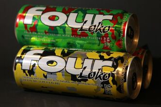 "Cans of fruit-flavored malt liquor called Four Loko are seen in Washington on Wednesday, Feb. 29, 2012, in Washington. The carbonated brew guzzled on college campuses is the focus of an intense write-in campaign urging federal regulators to take some buzz out of a sweet alcoholic drink sometimes referred to as ""blackout in a can."" The Federal Trade Commission is looking at a wave of complaints about the popular fruit-flavored malt liquor Four Loko. Under review: the amount of alcohol in the brightly colored, supersized cans and how they are marketed. (AP Photo/Haraz Ghanbari)"