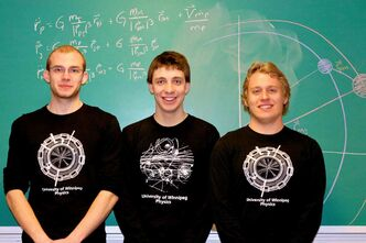 (From left to right) Nils Deppe, Jared Enns, and Nick Reid placed in the top 18% in the University Physics Competition.