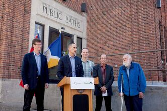 Kevin Chief, Minister responsible for the City of Winnipeg, and Mayor Sam Katz announce a partnership between the Province of Manitoba, the City of Winnipeg and the Kinsmen Club of Winnipeg to renovate the renamed Kinsmen Sherbrook Pool. Pictured: Chief (centre) and Mayor Katz (second from right) with local MLAs Andrew Swan (Minto), Rob Altemeyer (Wolseley), and city councillor Harvey Smith (Daniel McIntyre).