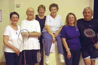 Norwood Badminton Club members (from left): Liz Van De Keere, Clay Wotherspoon,Teresa Maguet, Betty Cowan, Lucille Lysy and Jerry Lysy.