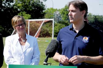 Minister Allan and Colin Ottenbreit, President of the Bonivital Soccer Club, announcing the Winnipeg Community Infrastructure Program investment in St. Vital Memorial Park Soccer Field.