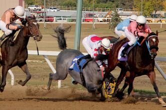 Smoke Show stumbles after clipping heels with Regal Silver (pink).