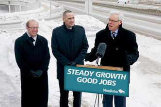 Kevin Chief, Minister responsible for the City of Winnipeg, joined Premier Selinger and Mayor Katz to announce a provincial investment of $250 million over five years into Winnipeg road repairs.