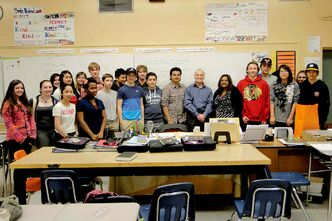 Dave Chomiak, MLA for Kildonan, meets with Kamey Munsamy's Grade 8 class at Edmund Partridge Community School, one of four classes Dave visited during Constituency Week this May.