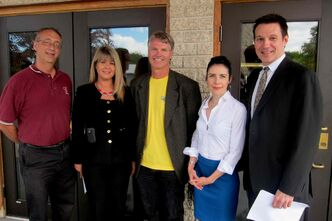 St. James MLA Deanne Crothers (second from right) at the Winnipeg Community Infrastructure Program investment announcement for west Winnipeg with representatives of the St. James Village BIZ (L-R) Martin Pasieczka, Tracy Wilkie, Bryan Metcalfe, and Michael Law.