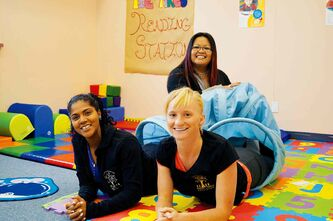 The women of TIE Tykes: Natalia Richards and Trinette Konge (front); Leilani Esteban (back).