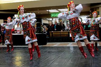 Performers at the Malanka celebration at Garden City Shopping Centre.