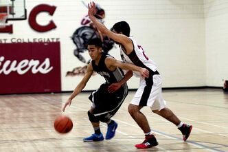 Maples Marauders point guard Jaired Garing in action against Kildonan East Reivers on Jan. 22. The Marauders lost the game 85-70.