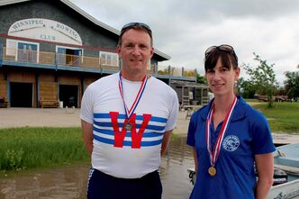Rowers Andrew Lamont and Brandi Smith pictured at Winnipeg Rowing Club.