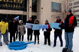 Justin Collicutt (far right, on crate), University of Winnipeg student and rally organizer, voiced his concerns about the closure of Sherbrook Pool during a rally outside City Hall in late November. On Dec. 4, Mayor Sam Katz announced that Sherbrook Pool will open its doors next year. Katz predicted the project will cost $2.8 million.