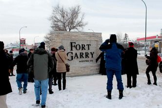 Mayor Sam Katz, diginitaries and a handful of area residents braved the cold to attend the unveiling of the new