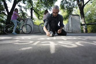 Graham Hantiuk at work in Assiniboine Park, where he almost was arrested in 2011.