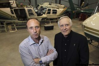 Brian Dawes and dad Jim sold their 24-unit Custom Helicopters company to Exchange Income Corp., but they and their employees will stay on the job.