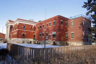 Dauphin Correctional centre. The jail (right) is attached to the side of the courthouse (left).