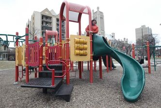 Lois Coward says her daycare children use the park at least four times a week, enjoying the play structure along with the outdoors.