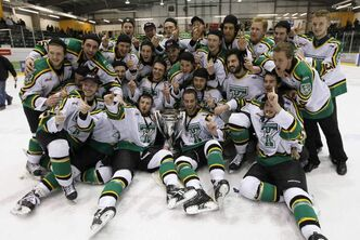 Portage Terriers celebrate defeating the Winnipeg Saints in last year's MJHL championship.
