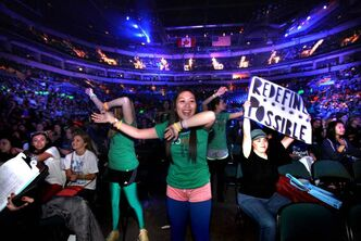 Students from all over Manitoba start screaming and standing in the aisle with their signs as We Day 2012 gets underway at the MTS Centre Tuesday morning. The annual We Day celebrations  in Winnipeg today with several iconic social activists and entertainers taking the stage in front of 18,000 students from around 400 schools from all over Manitoba.
