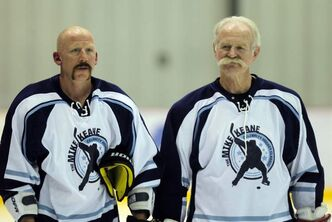 Mike Keane (left) and Lanny McDonald