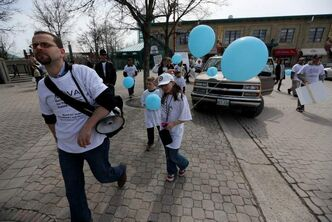 The first victim of crime awareness walk departs from The Forks, Saturday, April 27, 2013.