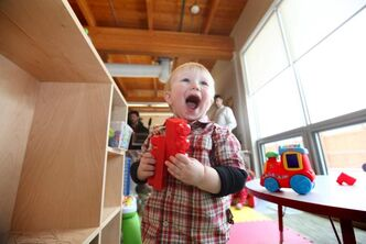 Jayden, 21 months, at Morrow Avenue Child Care Centre, is one of 30,000 daycare clients in a province with more than 9,700 children on waiting lists.