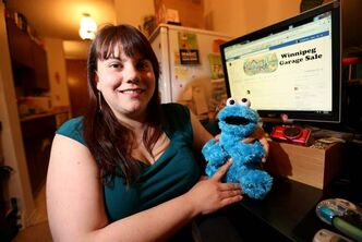 Michelle Roy with a Cookie Monster she picked up at a garage sale, and the Facebook page she started that now boasts more than 900 members.