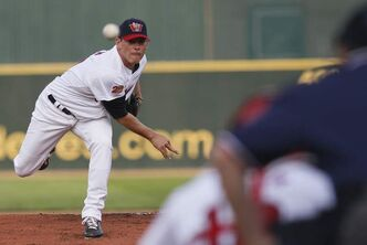 Matt Rusch (29) pitches against the Laredo Lemurs in the Winnipeg Goldeyes' home opener at Shaw Park Monday.