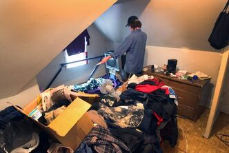 Tenant Dave inside his third-floor suite in a Spence Street rooming house.