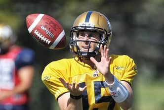 Looks like the Bombers' new starting QB Max Hall can catch a pass. We'll find out Friday night if he can throw them.