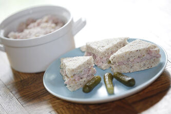 Ham and relish tea sandwiches