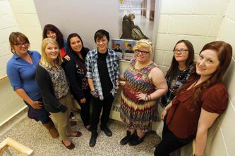 Stonewall Collegiate's FREE supporters (from left): Cassy Lamb, Jordyn MacDonald, guidance counsellor Karen Murray, Charlie Carrier, Ericka Erickson, Karina Meady, Brittney Taylor and guidance counsellor Tara Didychuk.